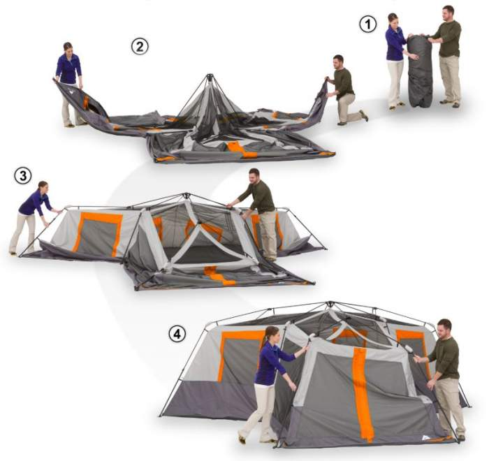 How to Setup Ozark Trail 12 Person Instant Cabin Tent?